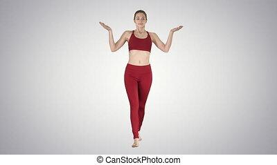 respiration, yoga, obtenir, gradient, jeune, air, arrière-plan., femme, prêt, frais