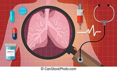 respiratoire, cancer, monde médical, anatomie, médicament,...