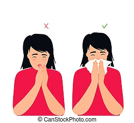 respiratoire, toux, flu., liquide, wrong., girl, rhumes, ...