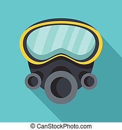Respirator icon, flat style