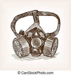 Respirator sketch style vector illustration