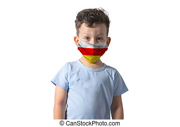 Respirator with flag of Abkhazia. White boy puts on medical face mask isolated on white background