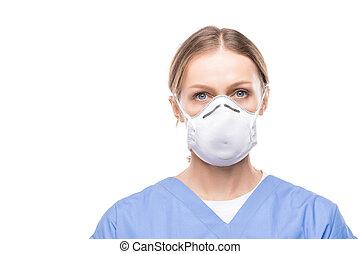 respiratorio, enfermera, máscara