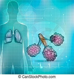 respiratorio, silueta, alveoli, system., fondo., parte, ...