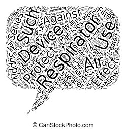 Respirators text background wordcloud concept