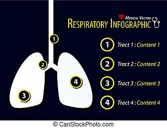 Respiratory Infographic . Flat design .