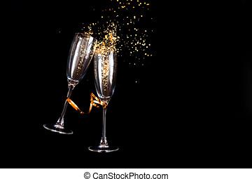 resplandor, champaña, dos, dorado, anteojos