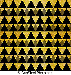 resplandor, negro, oro, triángulos