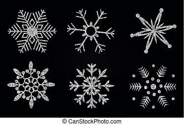 resplendecer, prata, snowflakes
