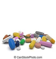 resplendent pills isolated on white background 3d rendering