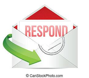respond envelope illustration design over a white background