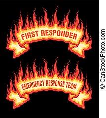 responder, flammes, premier, bannière, brûler