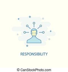 responsabilidade, ser, linha, colorido, simples, ícone, apartamento, lata, símbolo, design., usado, concept., illustration.