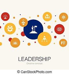responsabilité, direction, éléments, gabarit, icons., cercle, branché, motivation, simple, contient, tel, communication