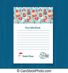 Response letter from Santa Claus template. Christmas Pattern with Gingerbread men, Mittens, knitted hat, scarf, snowman. Vector illustration on A4 sheet with postal stamp.