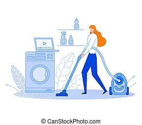 responsibilities., maison, dessin animé, home., affiche, usages, famille, ou, tidy., nettoie, vacuuming., distribution, être, femme foyer, propre, illustration., garde, plat, femme, banner., video., vecteur, boîte