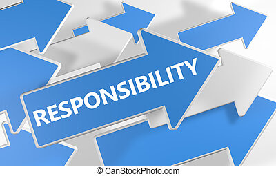 Responsibility 3d render concept with blue and white arrows ...