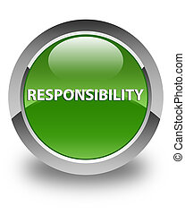Responsibility glossy soft green round button