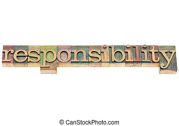 responsibility word in wood type
