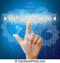 Responsible, Business concept in word for Human resources