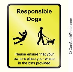 Responsible dogs Information Sign - Yellow responsible dog...