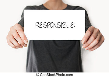Responsible. female showing card - Responsible. Female in...