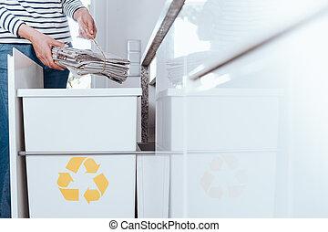 Responsible person sorting paper