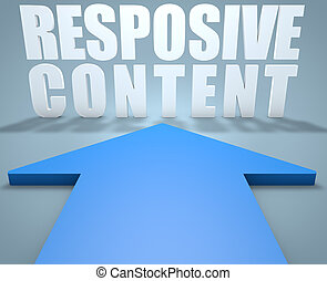 Responsive Content - 3d render concept of blue arrow...
