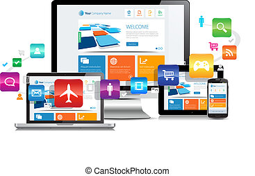 This image is a vector file representing a responsive design apps concept on various media devices.