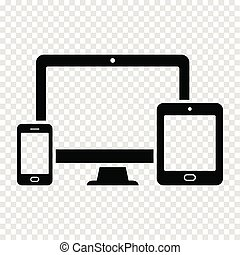 Responsive design for web - computer screen, smart phone, tablet icon