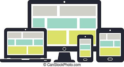 Responsive design icons: computer screen, laptop, smartphone, tablet