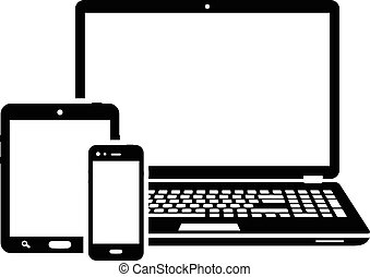 Responsive design laptop, tablet and smartphone screen icon