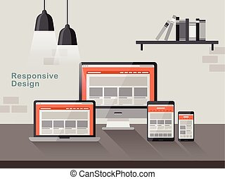 responsive design on different devices in flat design style