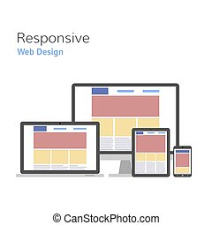 Responsive design. Web development. computer screen, smartphone, tablet, laptop set. Vector illustration