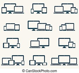Responsive digital devices icons set
