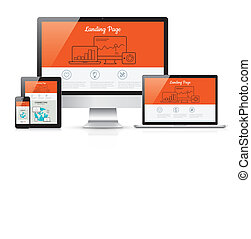 Responsive landing page development vector template...