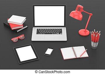Responsive mockup screens. Laptop, tablet, phone on table. 3d rendering.