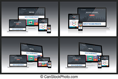 Easy editable responsive screen mockups with multiple device.