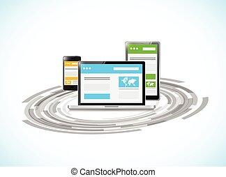 responsive technology sites concept illustration design over a white background