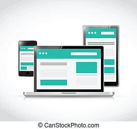 responsive web design. computer electronics illustration design over a white background