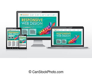 responsive web design concept in different devices -...