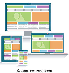 Responsive Web Design Concept on various devices in Modern...