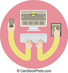 Responsive Web Design - Conceptual round illustration of...