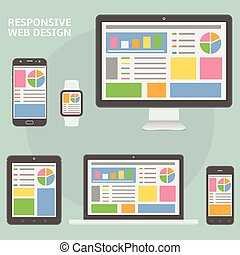 Responsive web design flat style devices
