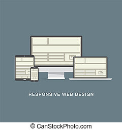 Responsive web design grid and flat