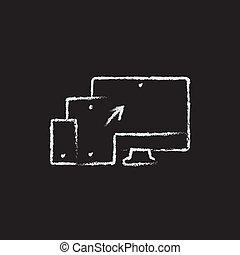 Responsive web design icon drawn in chalk.