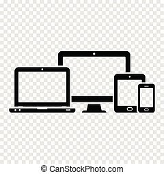 Responsive web design icons. Computer monitor, smartphone, tablet and laptop.