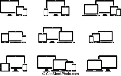 Responsive web design icons for computer monitor, smartphone, tablet and laptop