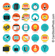 Flat design icons set modern style vector illustration concept of responsive design web interface, website analytics, search engine optimization, html coding, webpage wireframe and prototyping elements. Isolated on color background