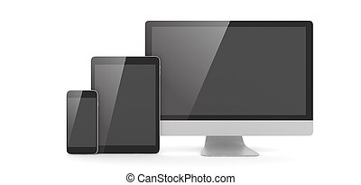 Responsive web design, laptop, smartphone, tablet, computer, display. 3d rendering.